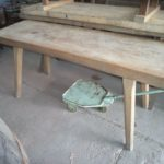Vintage hardwood buthcer table